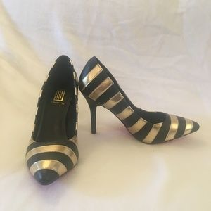 "Black / Gold Striped High Heels 4"" Spiked Size 8"